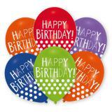 "Ballons de baudruche Happy Birthday ""Pois rigolos"" lot de 6"