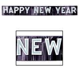 """Bannière à franges """"Happy new year"""" 25 cm x 2,7 m"""