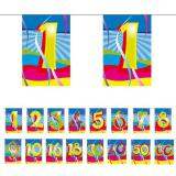 Mini guirlande de fanions avec chiffres multicolores 4 m
