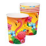 "6 gobelets en carton exotiques ""Flamant rose"""
