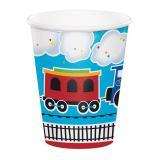 """8 gobelets en carton """"Petit train coloré"""""""