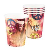 "6 gobelets en carton ""Hippie-Power"""