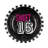 """6 assiettes en carton noires """"Sweet 16"""""""