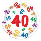 "8 assiettes en carton ""40 multicolore"""