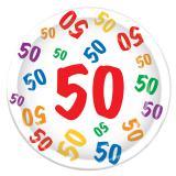 "8 assiettes en carton ""50 multicolore"""