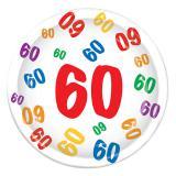 "8 assiettes en carton ""60 multicolore"""