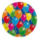 """8 assiettes en carton """"Ballons multicolores"""""""