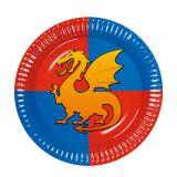 "6 assiettes en carton ""Coeur de dragon"""
