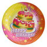"""8 assiettes en carton """"Gâteau d'anniversaire"""""""