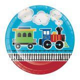 """8 assiettes en carton """"Train coloré"""""""