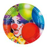 "6 assiettes en carton ""Clown coloré"""