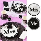 "10 assiettes en carton ""Mr & Mrs"""