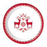 "8 assiettes en carton ""Adorables rennes de Noël"""