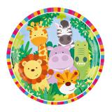 "8 assiettes en carton ""Adorables animaux de la jungle"""