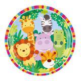 """8 assiettes en carton """"Adorables animaux de la jungle"""""""
