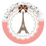 """8 assiettes en carton """"Paris je t'aime"""""""