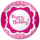 "8 assiettes en carton ""Pretty Pink"" Happy Birthday!"