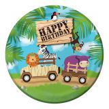"""8 assiettes en carton """"Safari Tour"""" Happy Birthday"""