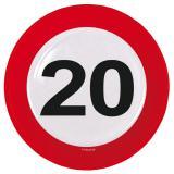 """8 assiettes en carton """"Panneau de limitation de vitesse 20 ans"""""""