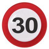 """8 assiettes en carton """"Panneau de limitation de vitesse 30 ans"""""""