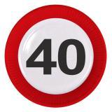 """8 assiettes en carton """"Panneau de limitation de vitesse 40 ans"""""""