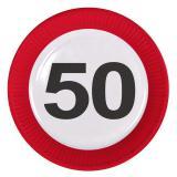 """8 assiettes en carton """"Panneau de limitation de vitesse 50 ans"""" 23 cm"""
