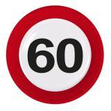 """8 assiettes en carton """"Panneau de limitation de vitesse 60 ans"""""""