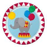 """8 assiettes en carton """"Un éléphant au cirque"""""""