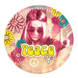"6 assiettes en carton ""Hippie Power"""