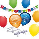 """Kit de déco pour anniversaire """"Ballons et guirlande"""" 21 pcs."""