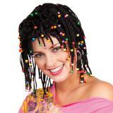 "Perruque ""Tresses rasta"" et perles colorées"