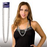 Collier de perles 38 cm 2 pcs. - argenté