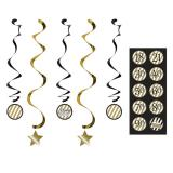 """5 suspensions à spirales """"Black & Gold"""" personnalisables"""
