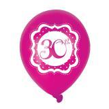 "Ballons de baudruche ""Pretty Pink"" 30 ans 6 pcs."