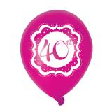 "Ballons de baudruche ""Pretty Pink"" Happy 40th! 6 pcs."