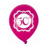 "Ballons de baudruche ""Pretty Pink"" 50 ans 6 pcs."