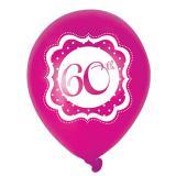 "Ballons de baudruche ""Pretty Pink"" 60 ans 6 pcs."