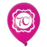"Ballons de baudruche ""Pretty Pink"" 70 ans 6 pcs."