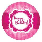 "Ballon en alu rose vif ""Happy Birthday Girl"" 45 cm"