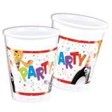 """8 gobelets en plastique """"Les animaux en fête"""""""