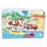 """6 sets de table """"Pompiers en action"""""""