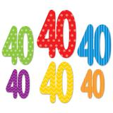 """Déco de salle """"Pois et rayures colorés"""" - 40 ans 6 pcs."""