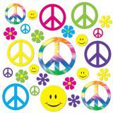 """Déco de salle """"Années 60 Flowers & Peace"""" 42 pcs"""