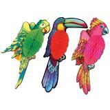 """Déco murale """"Oiseau exotique en papier crépon"""" 43 cm"""
