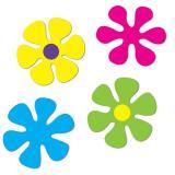 """4 décos de salle """"Fleurs Flower Power"""" 30 cm"""