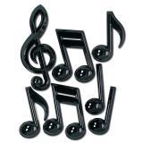 """Déco de salle """"Grandes notes de musique noires"""" 7 pcs 56 cm"""
