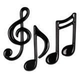 """Déco de salle """"Notes de musique noires"""" 3 pcs"""