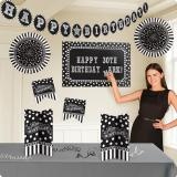 "Kit de déco ""Black & White Birthday"" 128 pcs."
