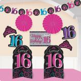 """Kit de déco de salle """"Sweet 16 Party"""" 10 pcs."""