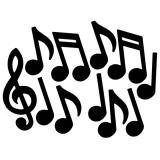 """Déco de salle """"Notes de musique noires"""" 50 cm 12 pcs"""